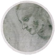 Head Of A Young Woman Or Head Of The Virgin Round Beach Towel