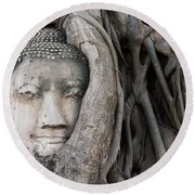 Head Of Buddha Statue In The Tree Roots Round Beach Towel