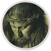 Head Of Christ Round Beach Towel