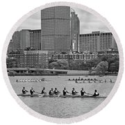 Head Of The Charles. Charles Rowers Black And White Round Beach Towel