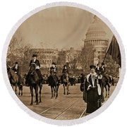 Head Of Washington D.c. Suffrage Parade Round Beach Towel