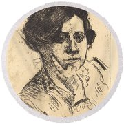 Head Of Woman (frauenkopf) Round Beach Towel