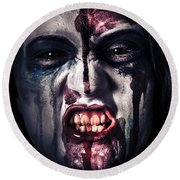 Head Shot On A Pure Evil Zombie Girl Round Beach Towel