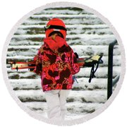 Heading For The Slopes Round Beach Towel