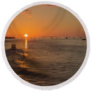 Heading Into The Sunset Round Beach Towel