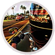Heading Out On Harley Round Beach Towel