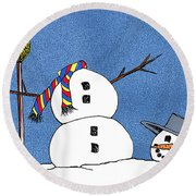 Headless Snowman Round Beach Towel