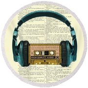 Blue Headphone And Yellow Cassette Collage Print Round Beach Towel