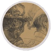 Heads Of A Man And A Woman Round Beach Towel