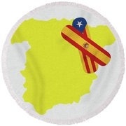 Heal Spain And Catalonia Round Beach Towel