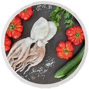 Healthy Diet Food Round Beach Towel