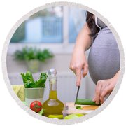 Healthy Nutrition For Pregnant Woman Round Beach Towel