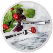 Healthy Organic Salad Flowing Out Of Plate On Natural Marble Tab Round Beach Towel