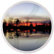 Hearns Pond Silhouette Round Beach Towel