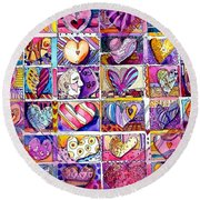 Heart 2 Heart Round Beach Towel