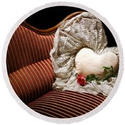 Heart And Rose Victorian Style Round Beach Towel