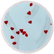 Heart Balloons In The Sky Round Beach Towel