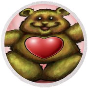 Heart Bear Round Beach Towel