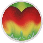 Heart Beat Round Beach Towel
