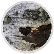 Heart Carved In Tree Round Beach Towel