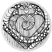 Heart Crown Tangle Round Beach Towel