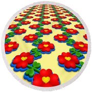 Heart Flowers Round Beach Towel