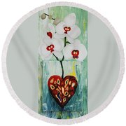 Heart In Bloom Round Beach Towel