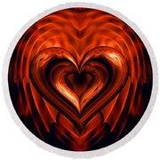 Heart In Flames Round Beach Towel