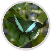 Heart Leaf Butterfly Round Beach Towel