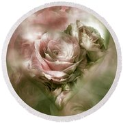 Heart Of A Rose - Antique Pink Round Beach Towel