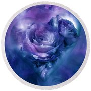 Heart Of A Rose - Lavender Blue Round Beach Towel