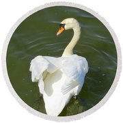 Heart Of A Swan Round Beach Towel