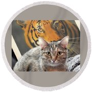 Heart Of A Tiger Round Beach Towel