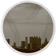 Heart Of Atlanta Monochrome Round Beach Towel