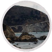 Heart Of The Bixby Bridge Round Beach Towel