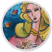 Heart Of Venus Round Beach Towel