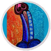 Heart On Painting Round Beach Towel