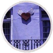 Heart On Wall Round Beach Towel