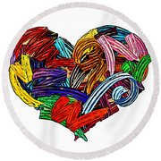 Heart Ribbons Round Beach Towel