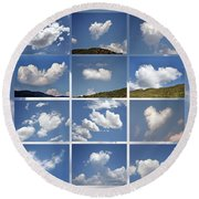 Heart Shaped Clouds - Collage Round Beach Towel