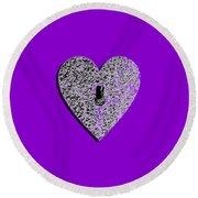 Heart Shaped Lock Purple .png Round Beach Towel