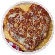 Heart Shaped Pizza Round Beach Towel