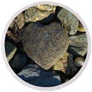 Heart Shaped Stone Loch Fyne  Round Beach Towel