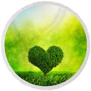 Heart Shaped Tree Growing On Green Grass Round Beach Towel