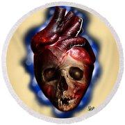 Heart Skull Round Beach Towel