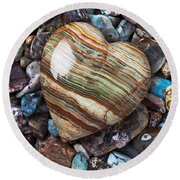 Heart Stone Round Beach Towel by Garry Gay