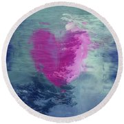 Heart Waves Round Beach Towel