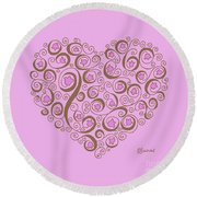 Heart With Pink Flowers And Swirls Round Beach Towel