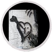 Heart Written In The Trees 3 Round Beach Towel