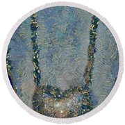 Hearted On Your Wall Again Medalion Painting Round Beach Towel